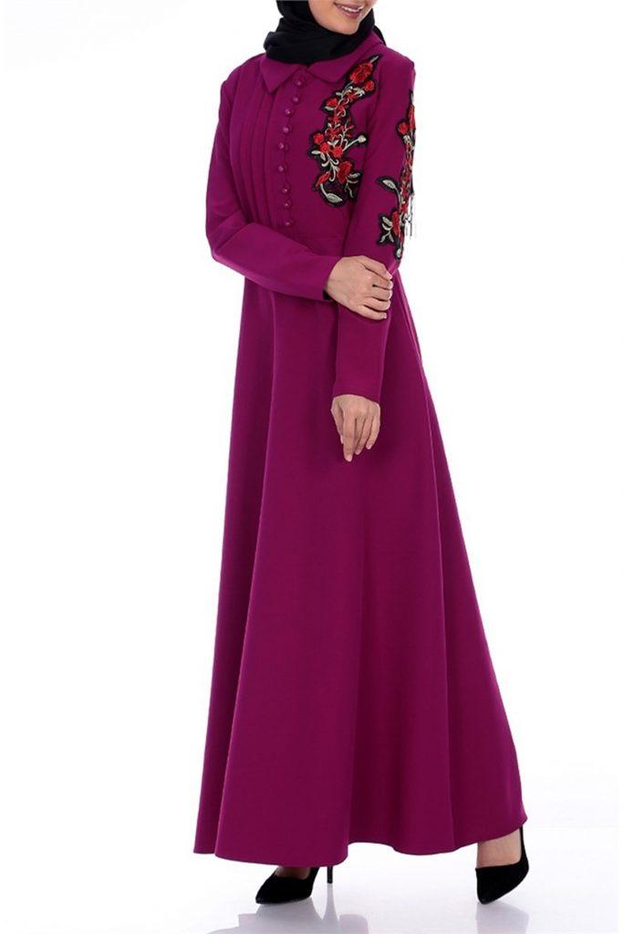 En Sik Patirti.com Tesettur Abiye Elbise Modelleri cicek aplikeli abiye elbise fusya