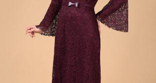 En Sik Patirti.com Tesettur Abiye Elbise Modelleri kemer detay koyu mor dantel albise