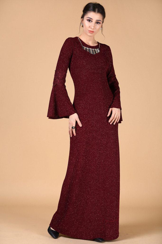 En Sik Patirti.com Tesettur Abiye Elbise Modelleri kolye aksesuar bordo abiye