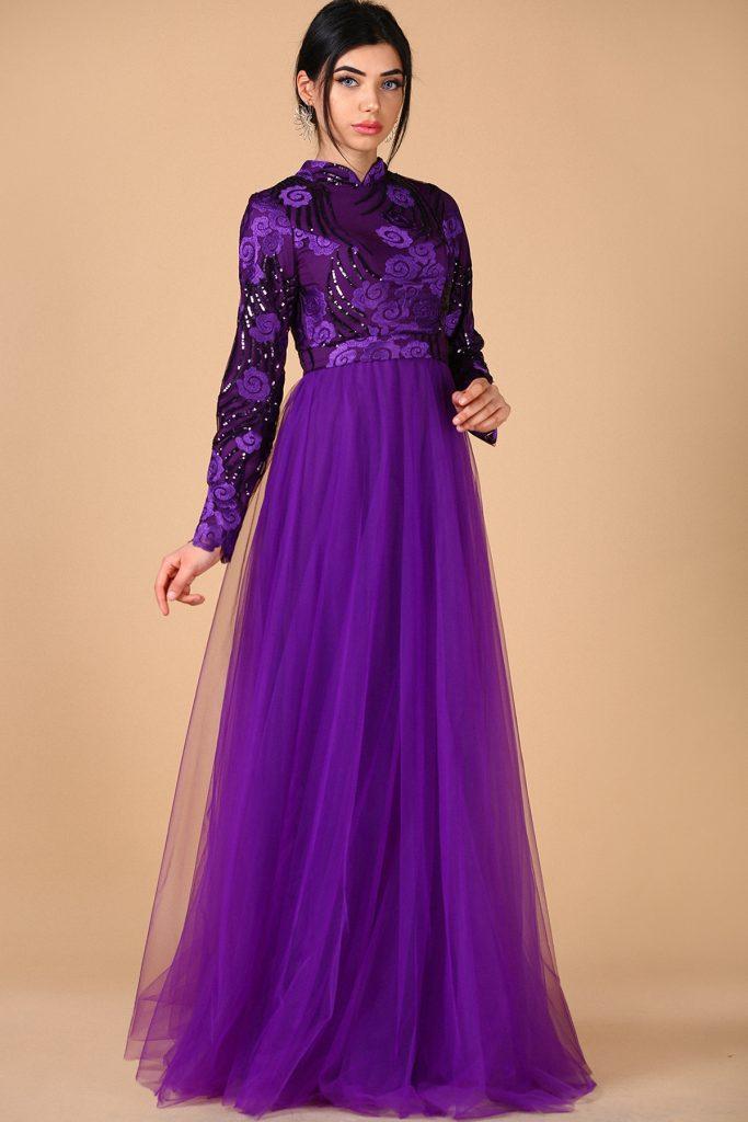 En Sik Patirti.com Tesettur Abiye Elbise Modelleri pul islemeli mor abiye