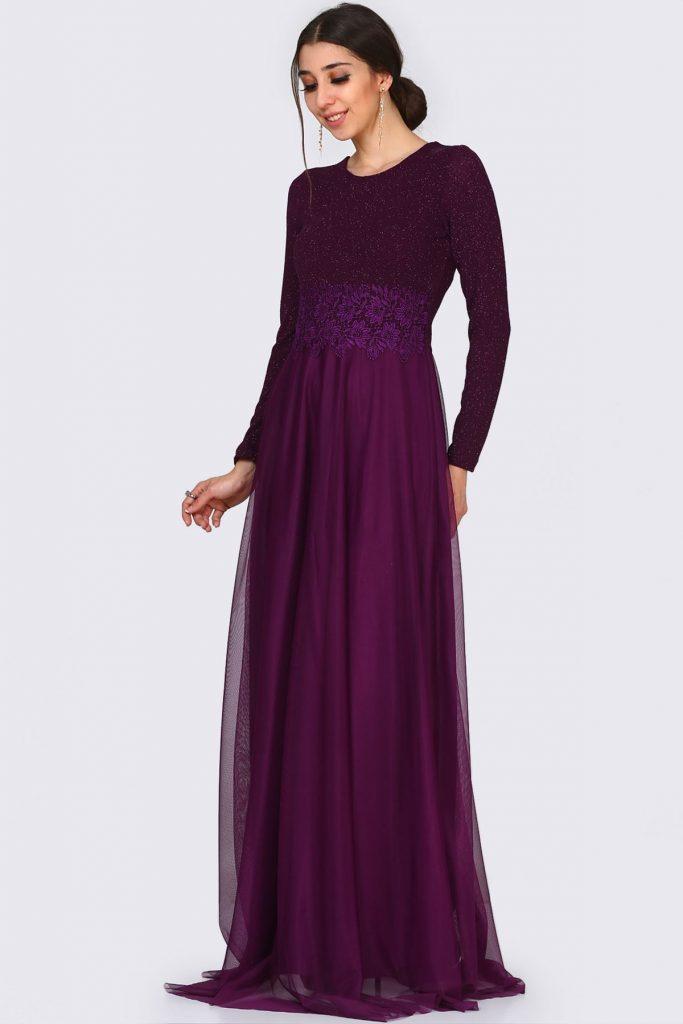 En Sik Patirti.com Tesettur Abiye Elbise Modelleri sirt dugme detay dantel islemeli simli koyu mor abiye