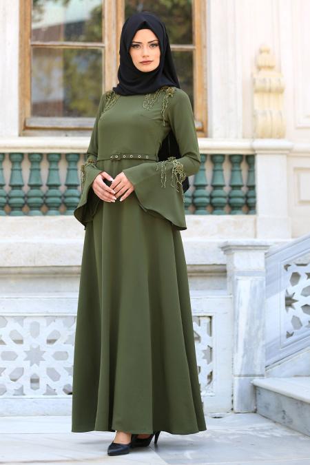 En Sik Tesettur Mezuniyet Abiye Elbise Modelleri-cicekli-volan-kol-haki