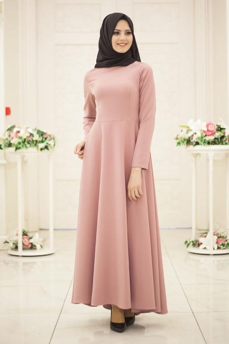 En Sik Tesettur Mezuniyet Abiye Elbise Modelleri-gul-kurusu
