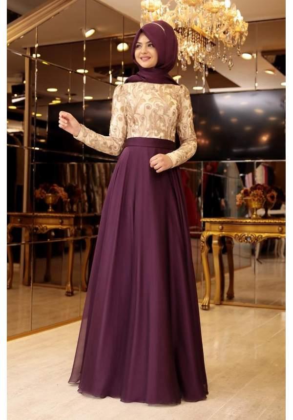 En Sik Tesettur Mezuniyet Abiye Elbise Modelleri-pinar-sems-meyra-abiye-mor