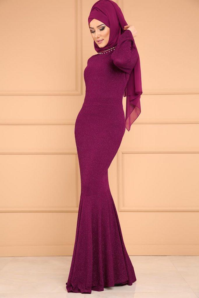 En Sik Tesettur Mezuniyet Abiye Elbise Modelleri-simli-balik-abiye-sarabi