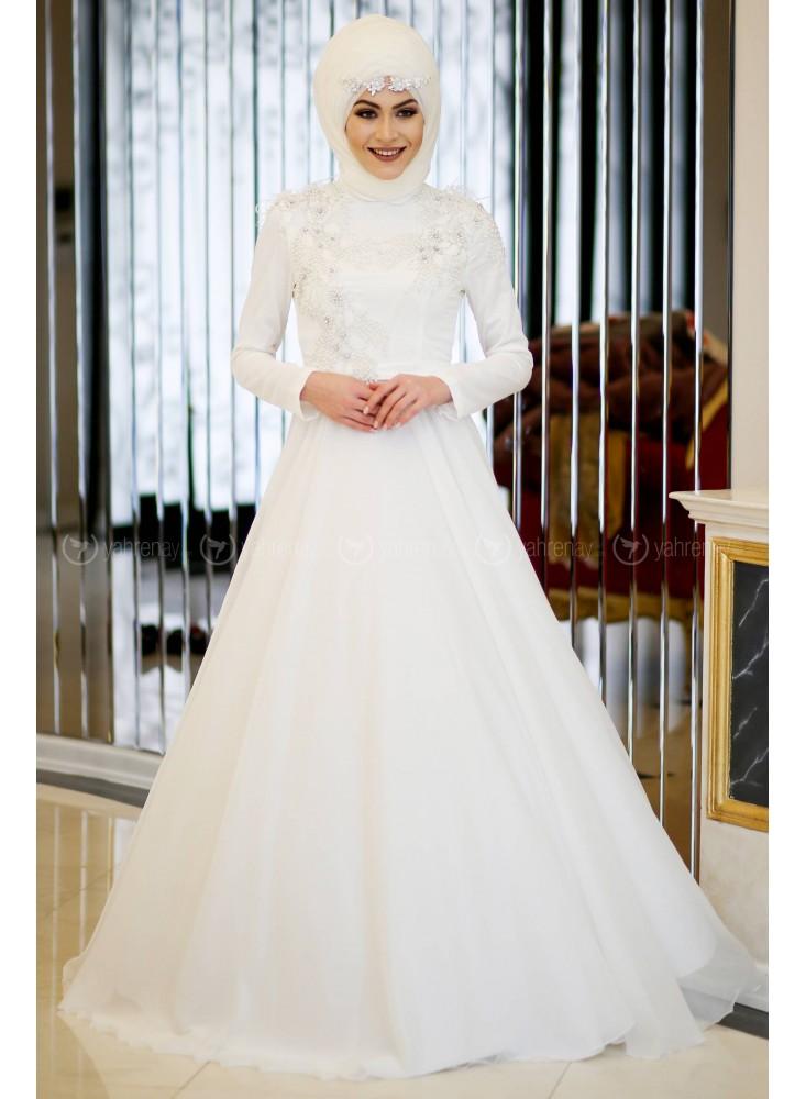 En Sik Tesettur Nikah Abiye Elbise Modelleri-abiye-ekru-minel-ask