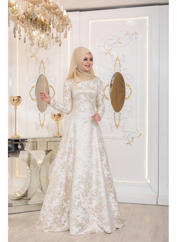 En Sik Tesettur Nikah Abiye Elbise Modelleri-cizgi-abiye-ekru-pinar-sems