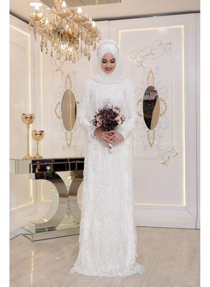 En Sik Tesettur Nikah Abiye Elbise Modelleri-gulistan-abiye-ekru-pinar-sems