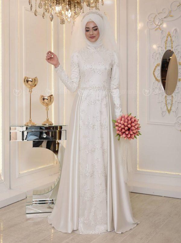 En Sik Tesettur Nikah Abiye Elbise Modelleri-ikbal-abiye-ekru-pinar-sems