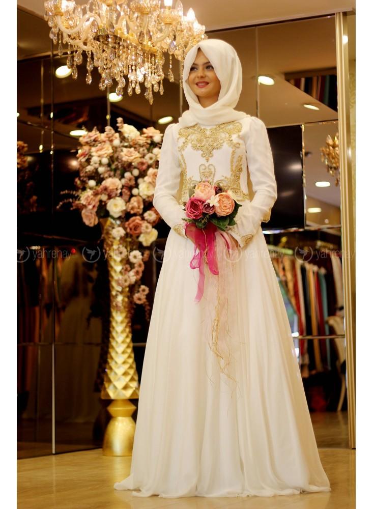 En Sik Tesettur Nikah Abiye Elbise Modelleri-sahra-abiye-ekru-pinar-sems