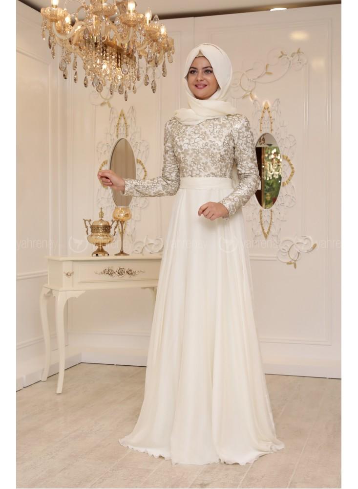 En Sik Tesettur Nikah Abiye Elbise Modellerisude-abiye-ekru-pinar-sems