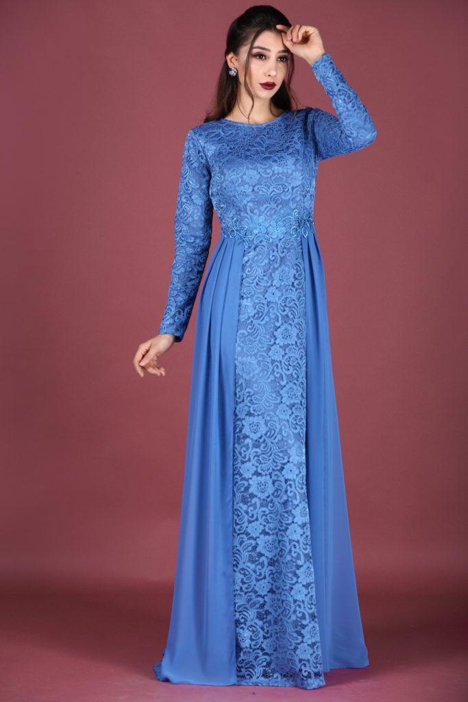 En Ucuz Patirti.com Tesettur Abiye Elbise Modelleri-dantel-islemeli-indigo-abiye