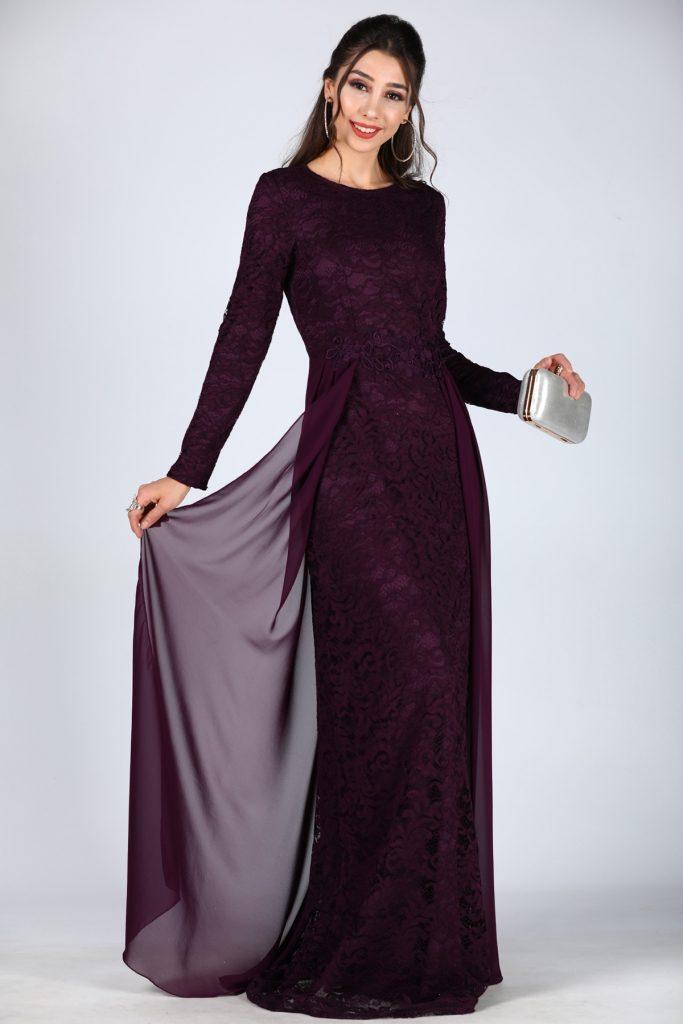 En Ucuz Patirti.com Tesettur Abiye Elbise Modelleri-dantel-islemeli-koyu-mor-abiye