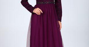En Ucuz Patirti.com Tesettur Abiye Elbise Modelleri fermuar detay mor abiye