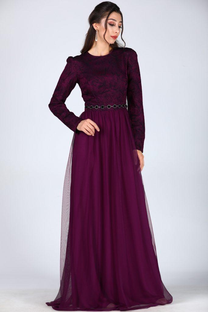 En Ucuz Patirti.com Tesettur Abiye Elbise Modelleri-fermuar-detay-mor-abiye