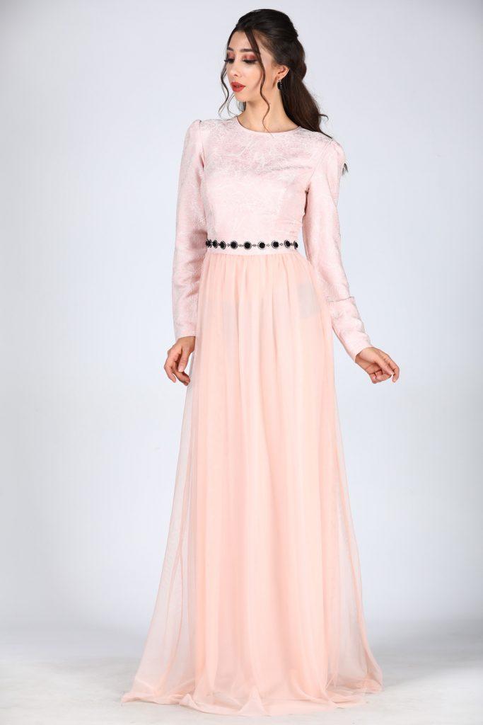 En Ucuz Patirti.com Tesettur Abiye Elbise Modelleri-fermuar-detay-pudra-abiye