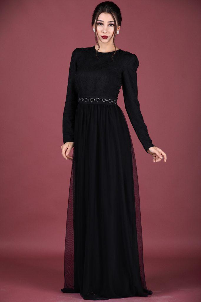 En Ucuz Patirti.com Tesettur Abiye Elbise Modelleri-fermuar-detay-siyah-abiye