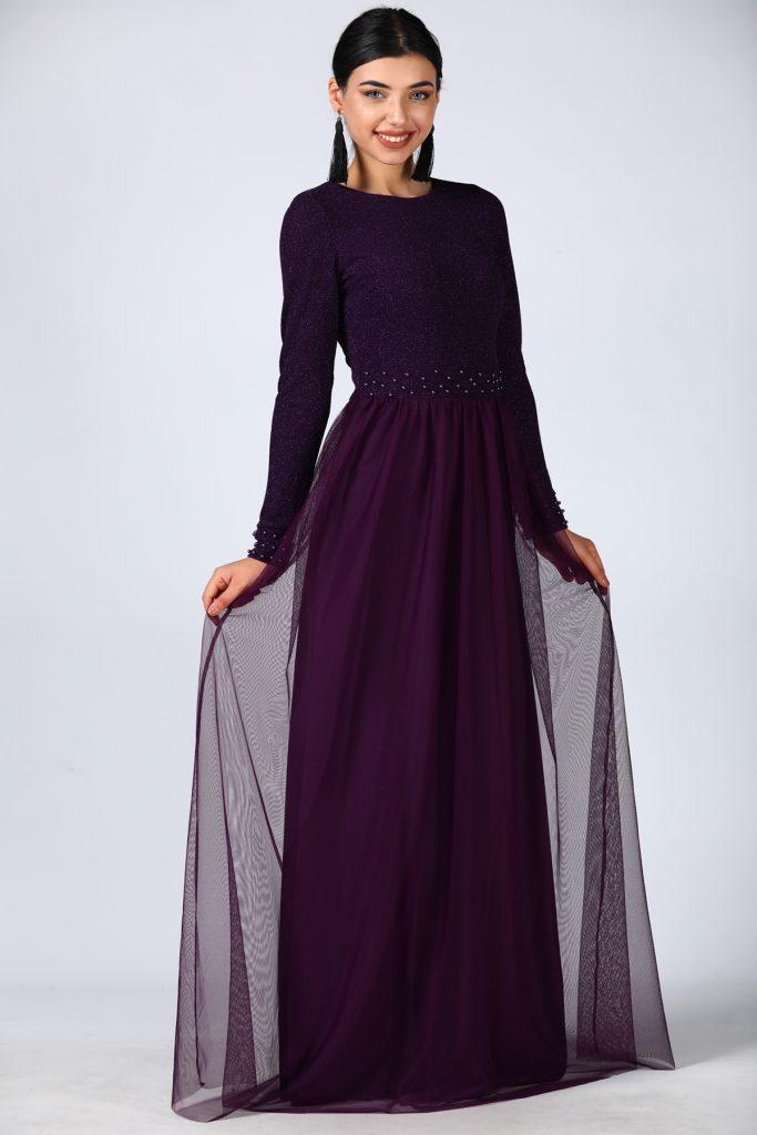 En Ucuz Patirti.com Tesettur Abiye Elbise Modelleri-inci-islemeli-koyu-mor-abiye