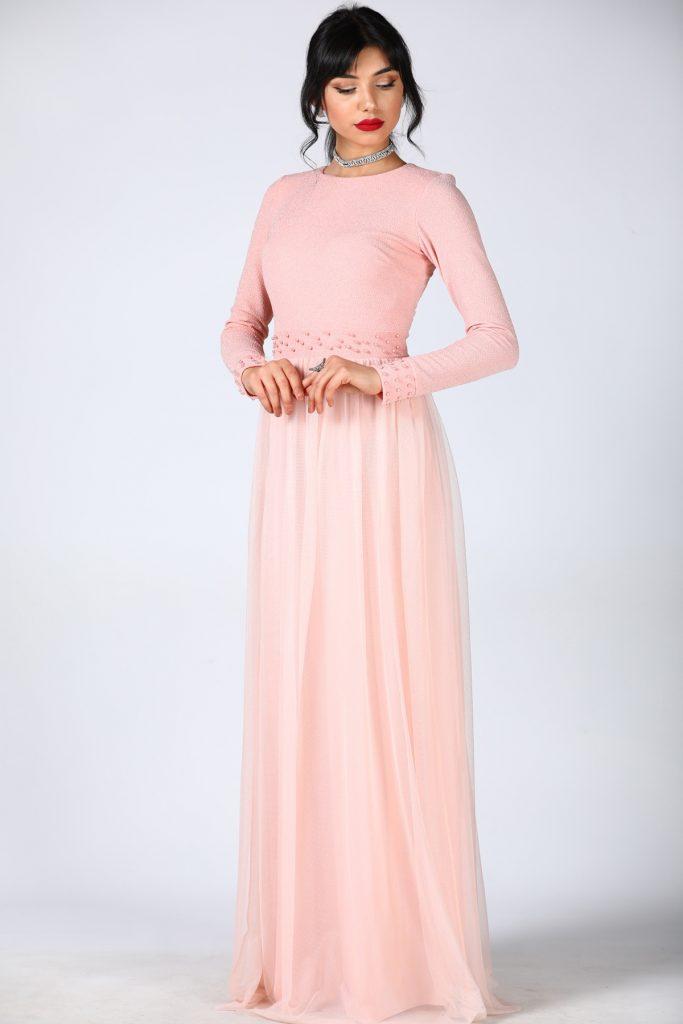 En Ucuz Patirti.com Tesettur Abiye Elbise Modelleri-inci-islemeli-pudra-abiye