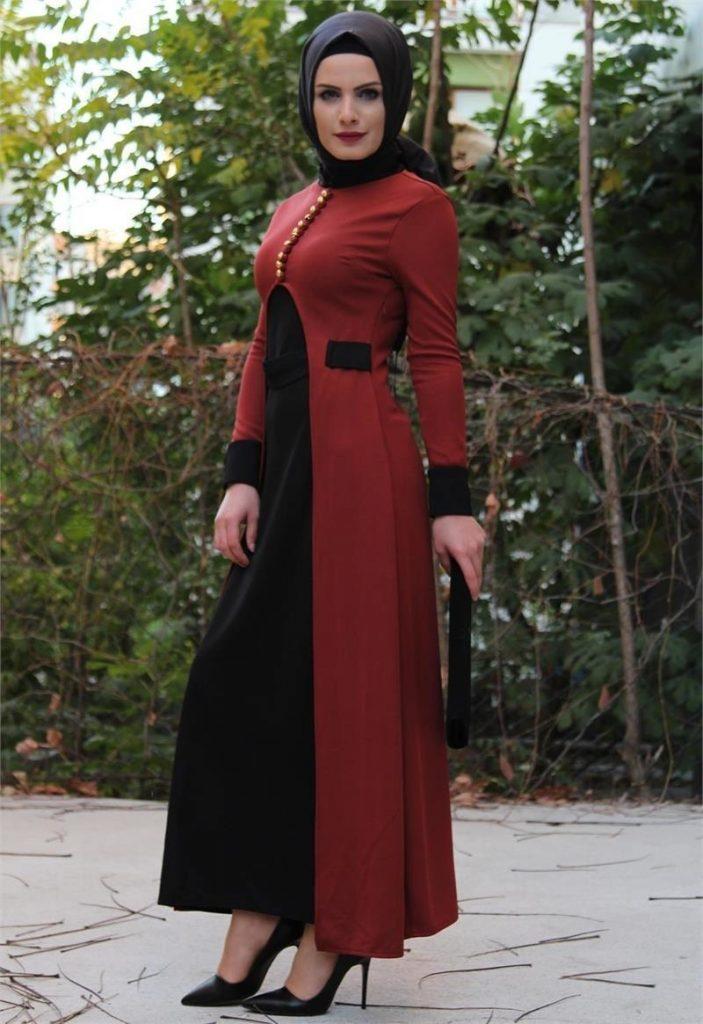 En Ucuz Patirti.com Tesettur Abiye Elbise Modelleri-on-yirtmacli-kiremitsiyah