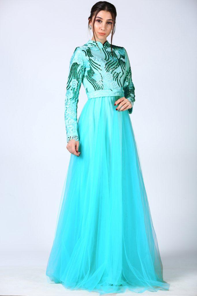 En Ucuz Patirti.com Tesettur Abiye Elbise Modelleri-pul-islemeli-mint-abiye