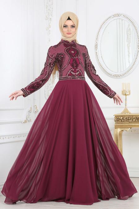 indirimli Tesettur Abiye Elbise Modelleri-pul-payet-detayli-murdum