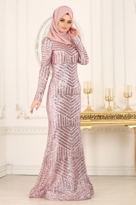 indirimli Tesettur Abiye Elbise Modelleri-pul-payetli-pudra