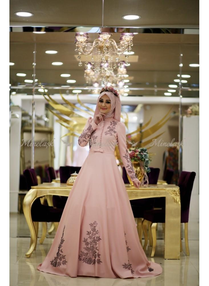 Tafta ve Saten Tesettur Abiye Elbise Modelleri-acelya-abiye-pudra-minel-ask