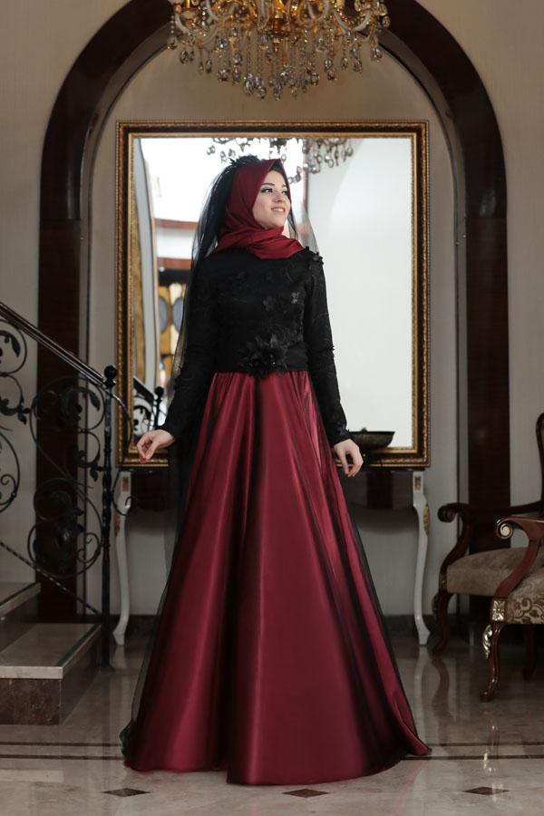 Tafta ve Saten Tesettur Abiye Elbise Modelleri-afitap-bordo