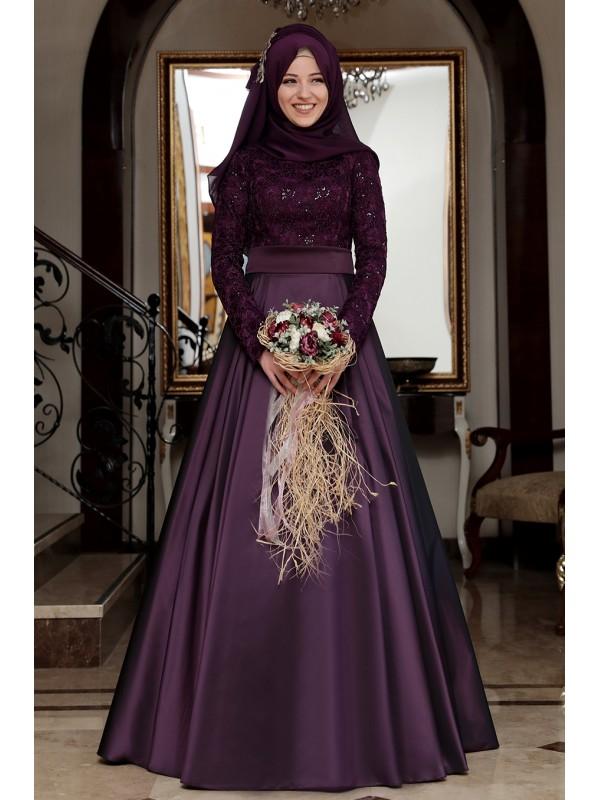 Tafta ve Saten Tesettur Abiye Elbise Modelleri-beril murdum