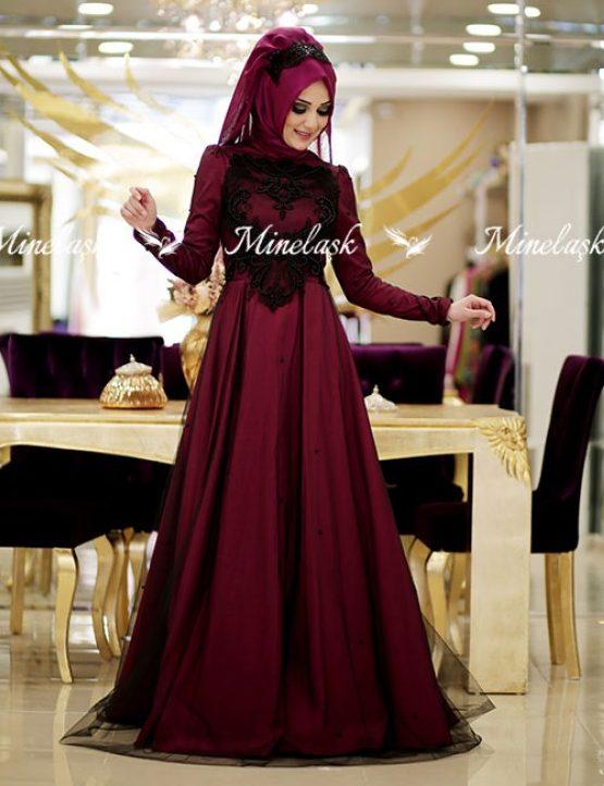 Tafta ve Saten Tesettur Abiye Elbise Modelleri-minel-abiye-fusya-minel-ask