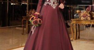 Tafta ve Saten Tesettur Abiye Elbise Modelleri tuana bordo e1527883257880