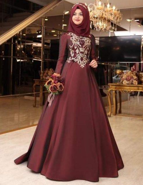 Tafta ve Saten Tesettur Abiye Elbise Modelleri-tuana bordo