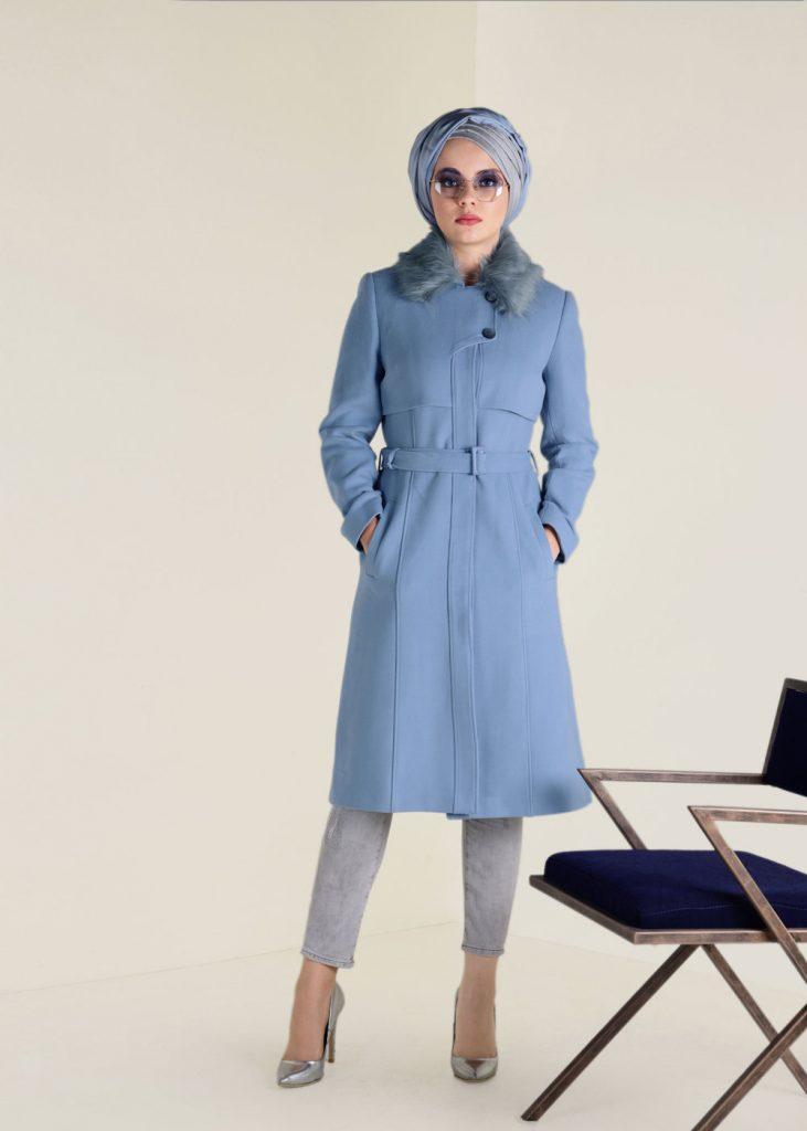 2018 Son Bahar Tesettur Giyim Trendi-alicia-kaban mavi