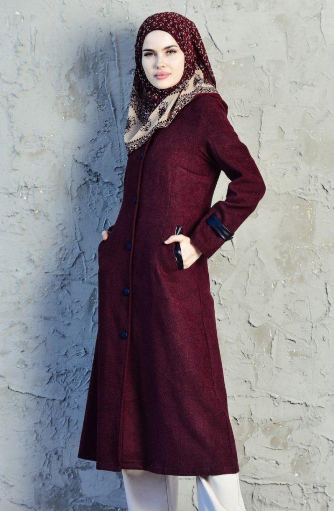 2019 Modanisa Yeni Sezon Tesettur Giyim Modelleri_sefamerve_bordo_kaban_beha