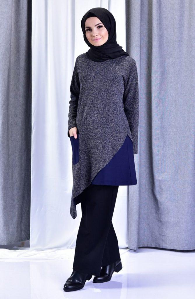 2019 Modanisa Yeni Sezon Tesettur Giyim Modelleri_sefamerve_lacivert_tunik