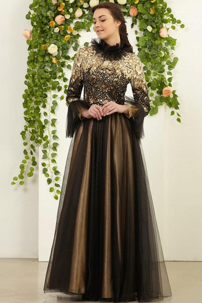 Modanisa Yeni Sezon Abiye Elbise Modeleri-fmk-by-tuay-karaca-siyah-yaka-ve-kollari-tul-abiye-elbise