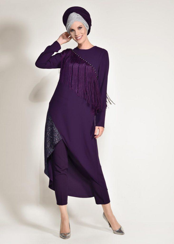 Tesettur Giyimde Almanya Online Shop-nil-crep-2li-pantolonlu takim