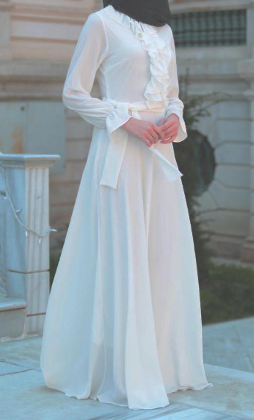 tesettur beyaz elbise