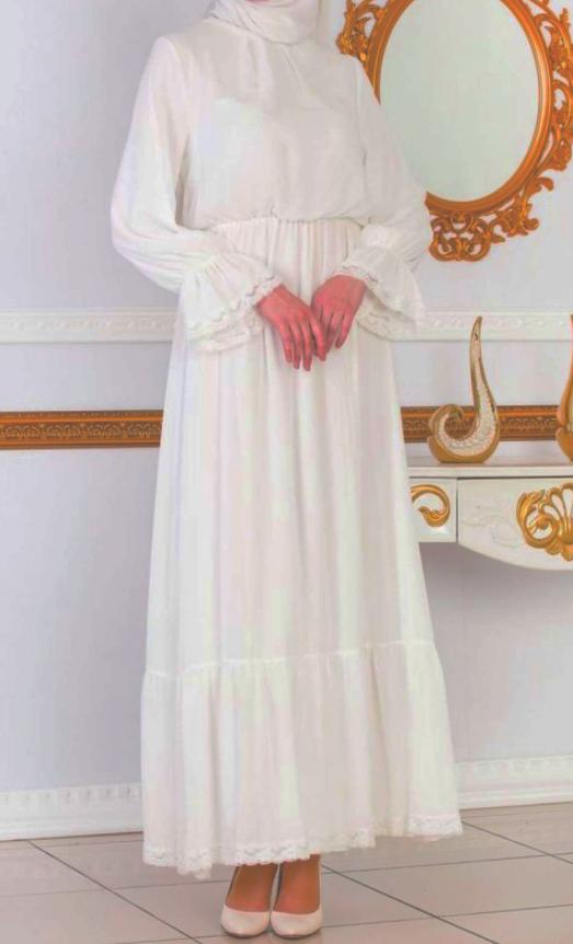 tesettur elbise beyaz