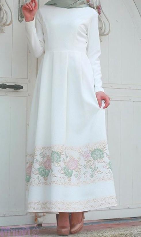 beyaz tesettur elbise 6