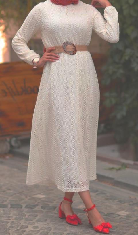 beyaz tesettur elbise 7