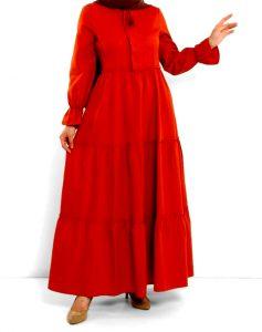 pileli tesettur elbise
