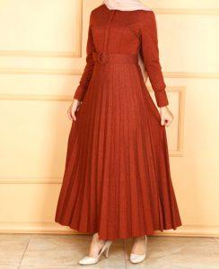 pileli tesettur elbise2